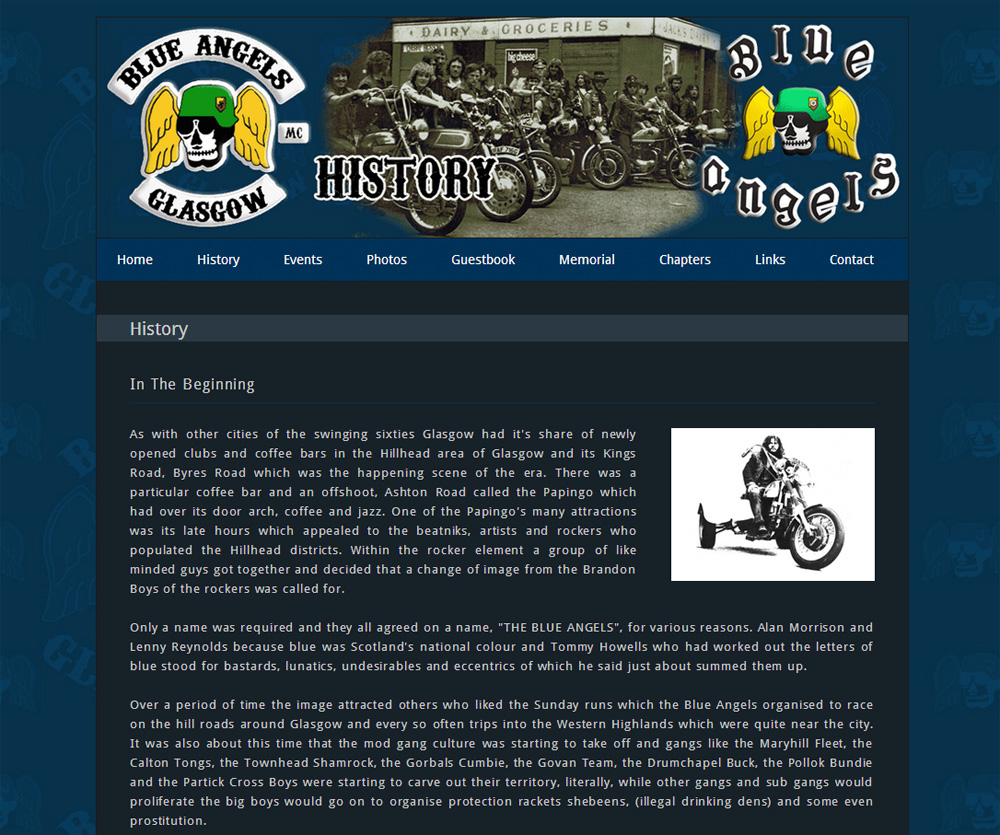 Blue Angels Glasgow History Page